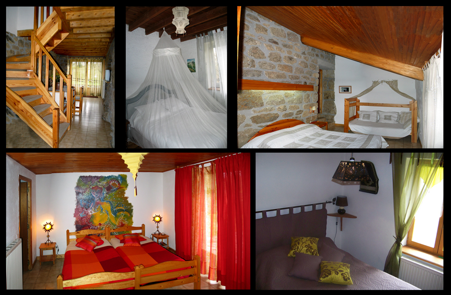 Les Grillons - The Accomodation - Bedrooms and Communal Area